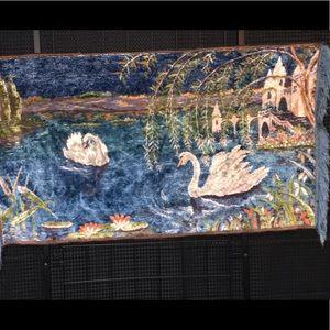 1970s Velvet Blue.. Swans..Blue.. Tapestry